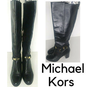 Michael Kors Knee High Leather Riding Boots Black